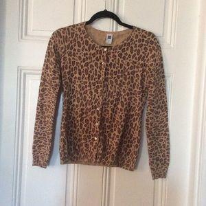 GAP Leopard Print Cardigan Sz S